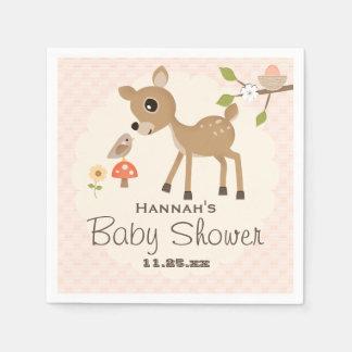 Serviette Jetable Rougissent le baby shower rose de cerfs communs de