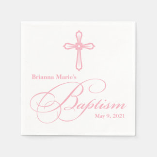 Serviette personnalisée par baptême croisé rose serviette en papier