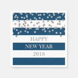 Serviettes argentées bleues de bonne année de serviette jetable