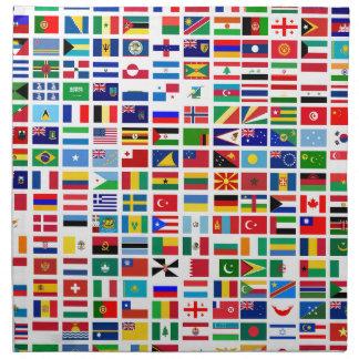 Serviettes En Tissus drapeaux du monde contre le blanc