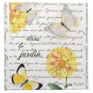 Serviettes jaunes de jardin de dahlia de papillon