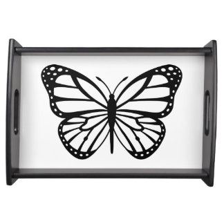 Serving Tray - Black & White Butterfly