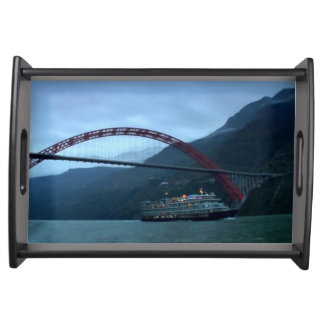 Serving Tray CHINESE RIVER BOAT BRIDGE TRAVEL GIFT