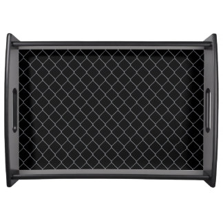 Serving Tray in Black with Chain Link Pattern