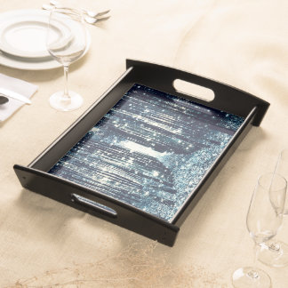 Serving Tray : Magical Forest Teal Gray Elegance