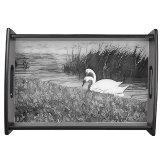 Serving Tray with B&W Abstract Trumpet Swans