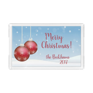 Serving Tray with Christmas Ornaments Personalized