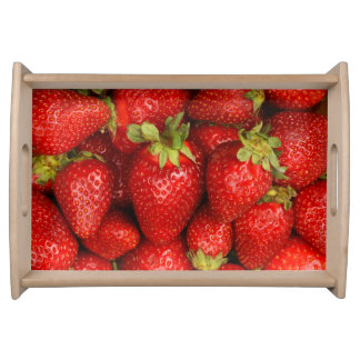 Serving tray with red strawberries background