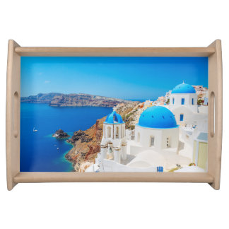 Serving Tray with Santorini Island, Greece