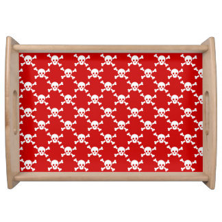 Serving tray with white skulls & crossbones on red