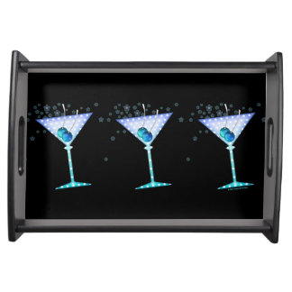 SERVING TRAYS, BLUE MARTINI DESIGN SERVING TRAY