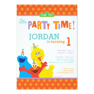 "Sesame Pals Birthday 5"" X 7"" Invitation Card"