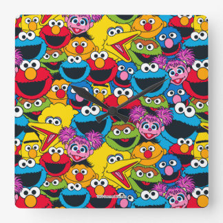 Sesame Street Crew Pattern Square Wall Clock
