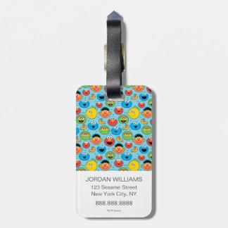 Sesame Street Faces Pattern on Blue Bag Tag