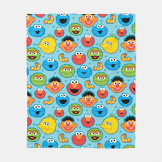 Sesame Street Faces Pattern on Blue Fleece Blanket