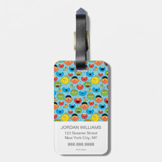 Sesame Street Faces Pattern on Blue Luggage Tag