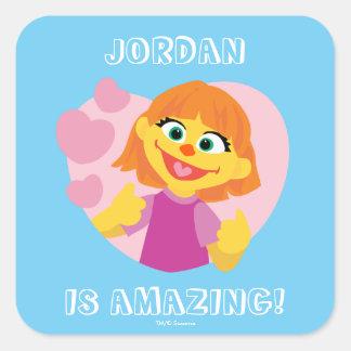 Sesame Street | Julia Pink Heart Square Sticker