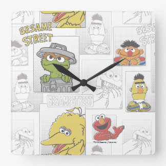 Sesame StreetVintage Comic Pattern Wall Clock