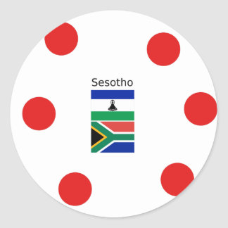 Sesotho Language And Lesotho/South Africa Flags Classic Round Sticker