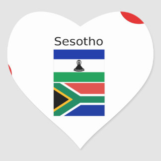 Sesotho Language And Lesotho/South Africa Flags Heart Sticker