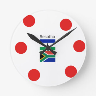 Sesotho Language And Lesotho/South Africa Flags Round Clock