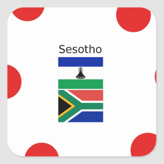 Sesotho Language And Lesotho/South Africa Flags Square Sticker