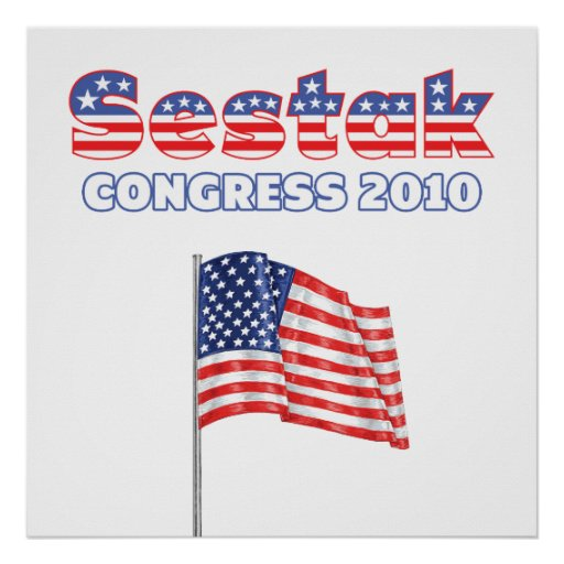 Sestak Patriotic American Flag 2010 Elections Posters