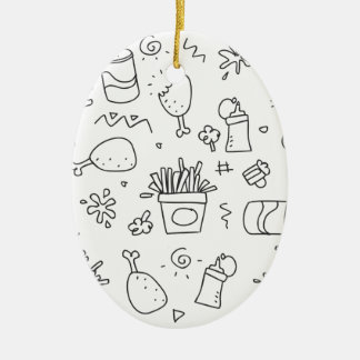 Set chalk out scribble collection ceramic ornament