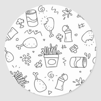 Set chalk out scribble collection classic round sticker