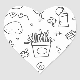 Set chalk out scribble collection heart sticker