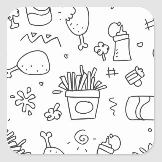 Set chalk out scribble collection square sticker