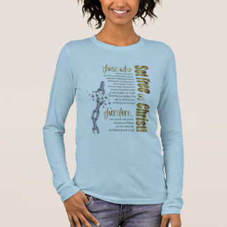 """""""Set Free in Christ"""" Long Sleeve Tee (Blue/Gold)"""