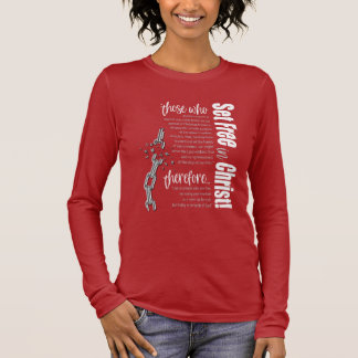 """""""Set Free in Christ"""" Long Sleeve Tee (Card/White)"""