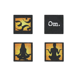 Set of 4 Marble Magnets Meditation Yoga Themed
