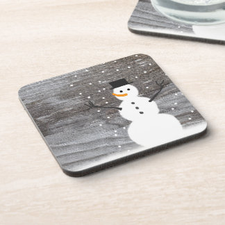Set of 6 drink coasters rustic Christmas snowman