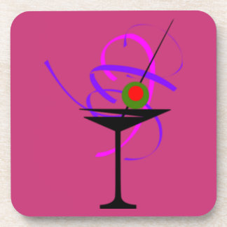 Set of 6 Martini Glass Hot Pink Coasters