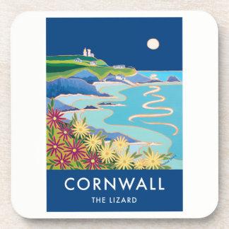 Set of 6:Vintage Style Coasters. Lizard lighthouse Beverage Coaster