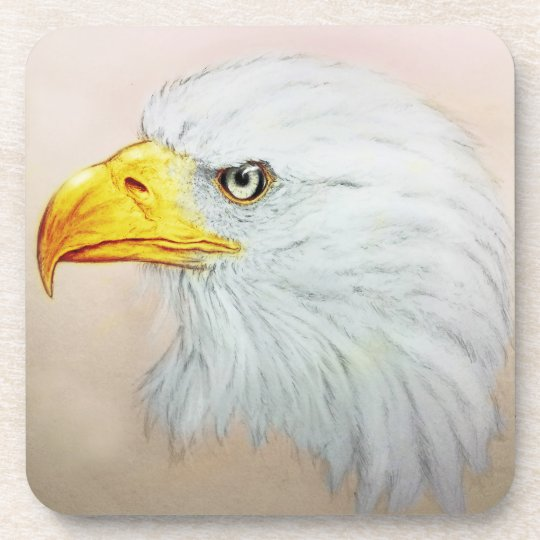 Set of 6 White Eagle Coasters Set, Bird Drawing