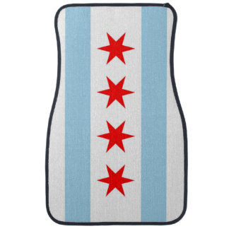 Set of car mats with Flag of Chicago, Illinois