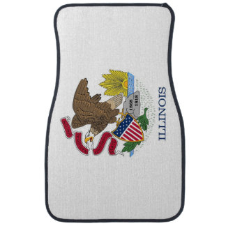 Set of car mats with Flag of Illinois, USA