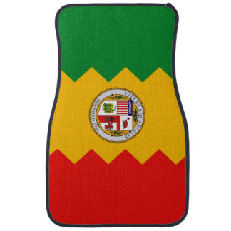 Set of car mats with Flag of Los Angeles, USA
