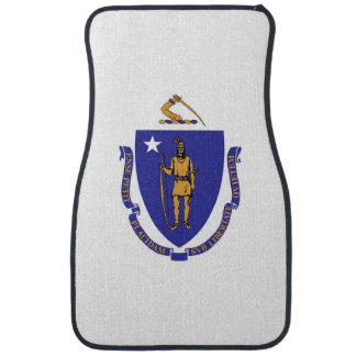 Set of car mats with Flag of Massachusetts, USA