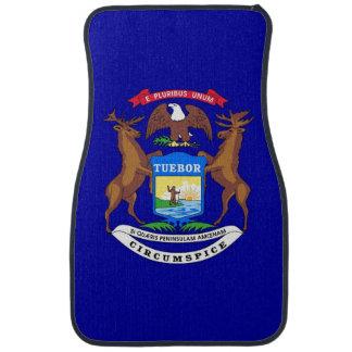 Set of car mats with Flag of Michigan, USA