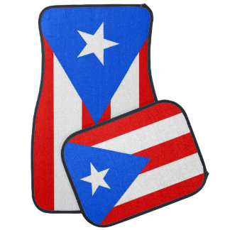 Set of car mats with Flag of Puerto Rico, USA