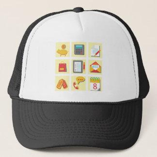 set of flat icons trucker hat