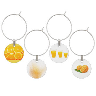 Set of four Orange Juice paintings Wine Charm