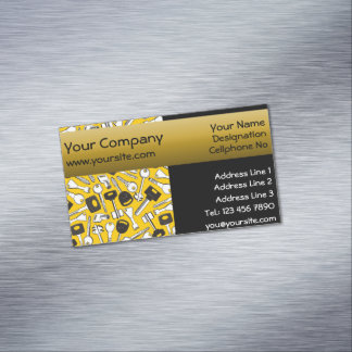 Set of Keys Background Seamelss yellow background Magnetic Business Card