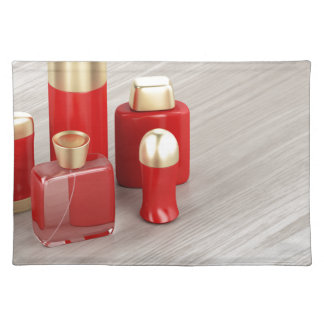 Set of men's cosmetic products placemat
