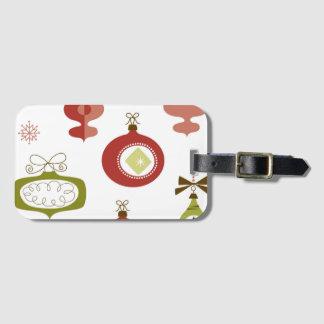 Set of Retro Christmas Ornaments Luggage Tag