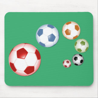 Set of soccer balls mouse pad